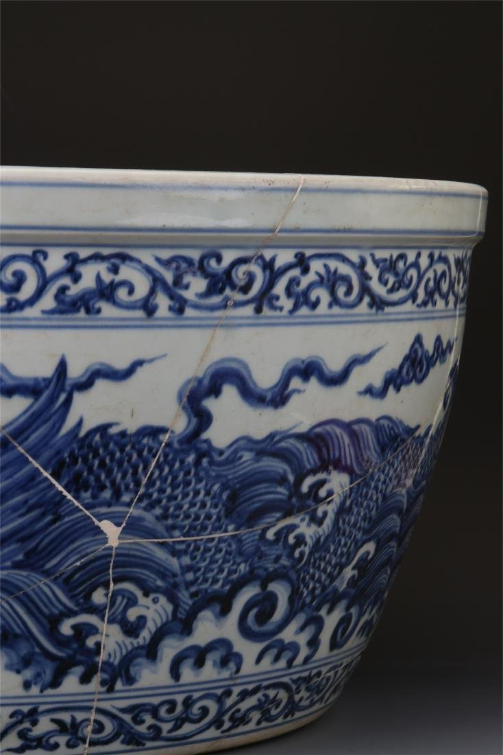 CHINESE PORCELAIN BLUE AND WHITE DRAGON FISH BOWL - 5