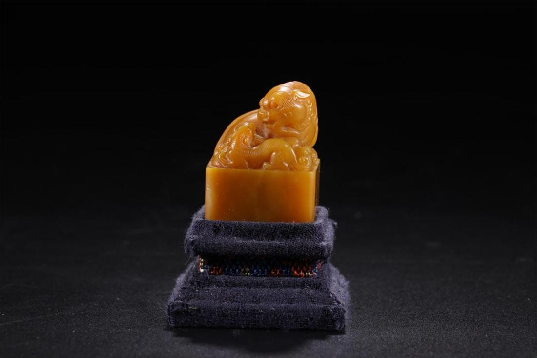 CHINESE SOAPSTONE BEAST SEAL - 2