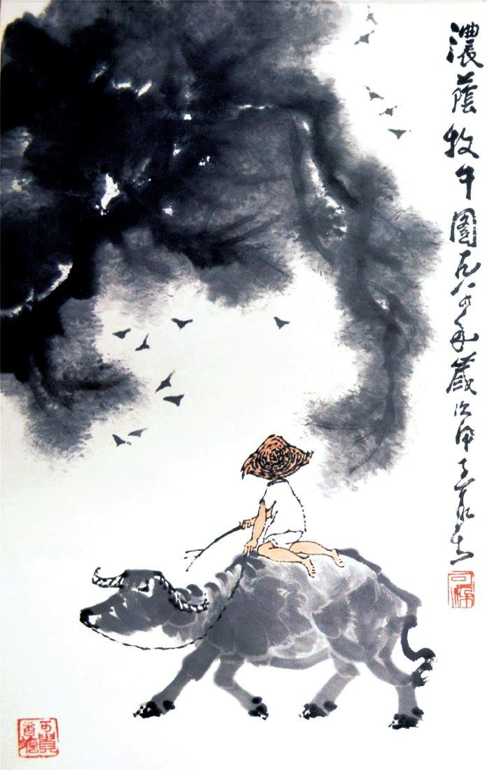 CHINESE SCROLL PAINTING OF BOY ON OX