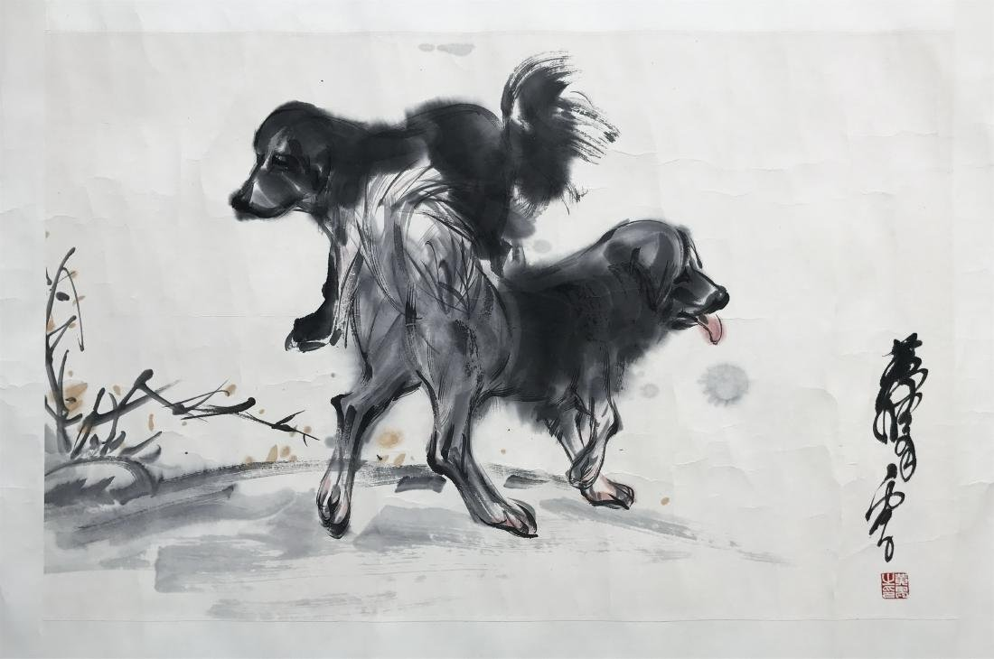 CHINESE SCROLL PAINTING OF TWO PUPPY