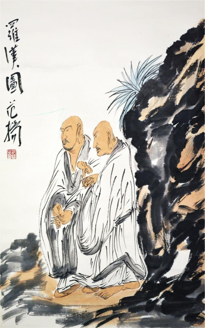 CHINESE SCROLL PAINTING OF TWO LOHANS