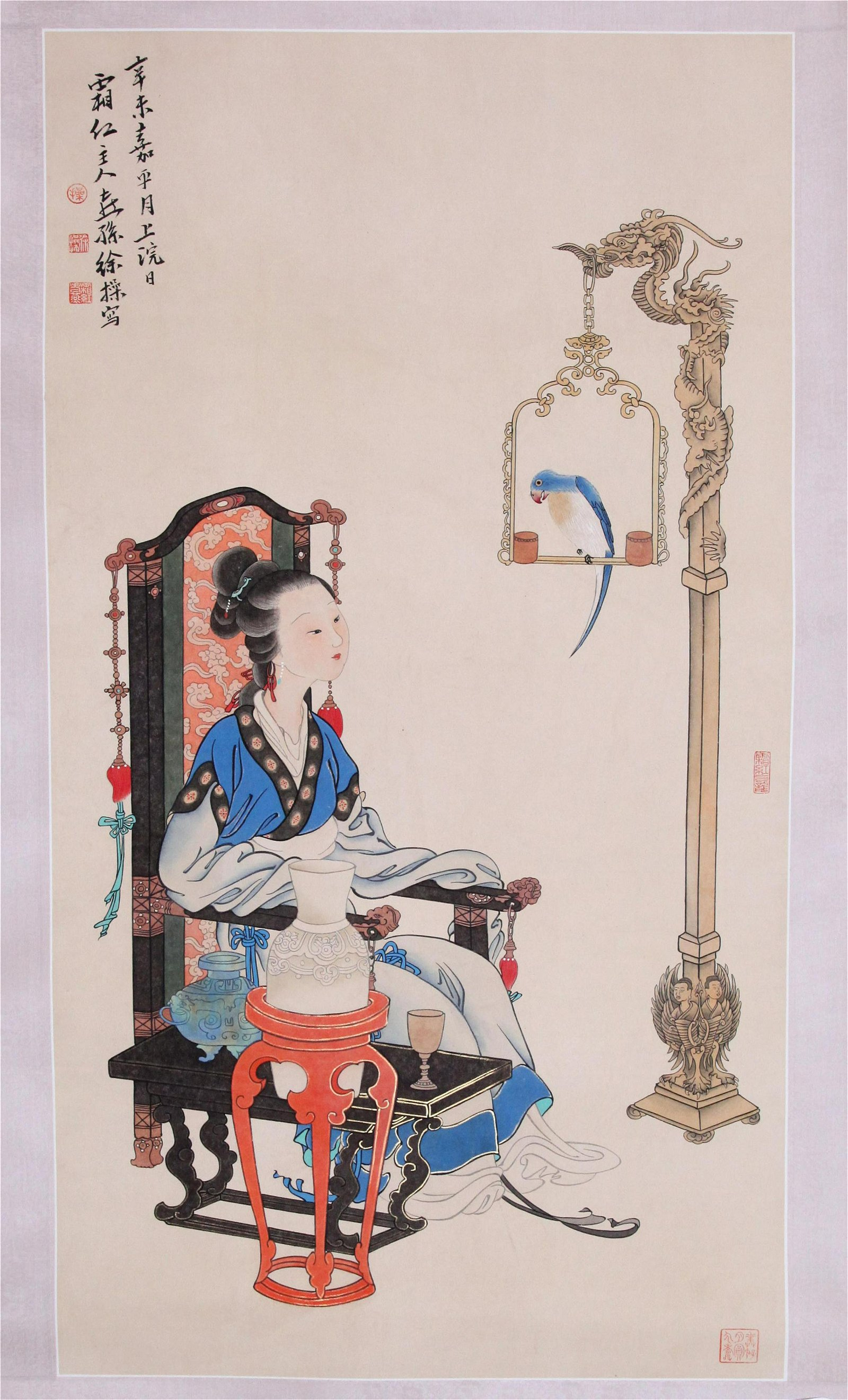 CHINESE SCROLL PAINTING OF BEAUTY WITH BIRD