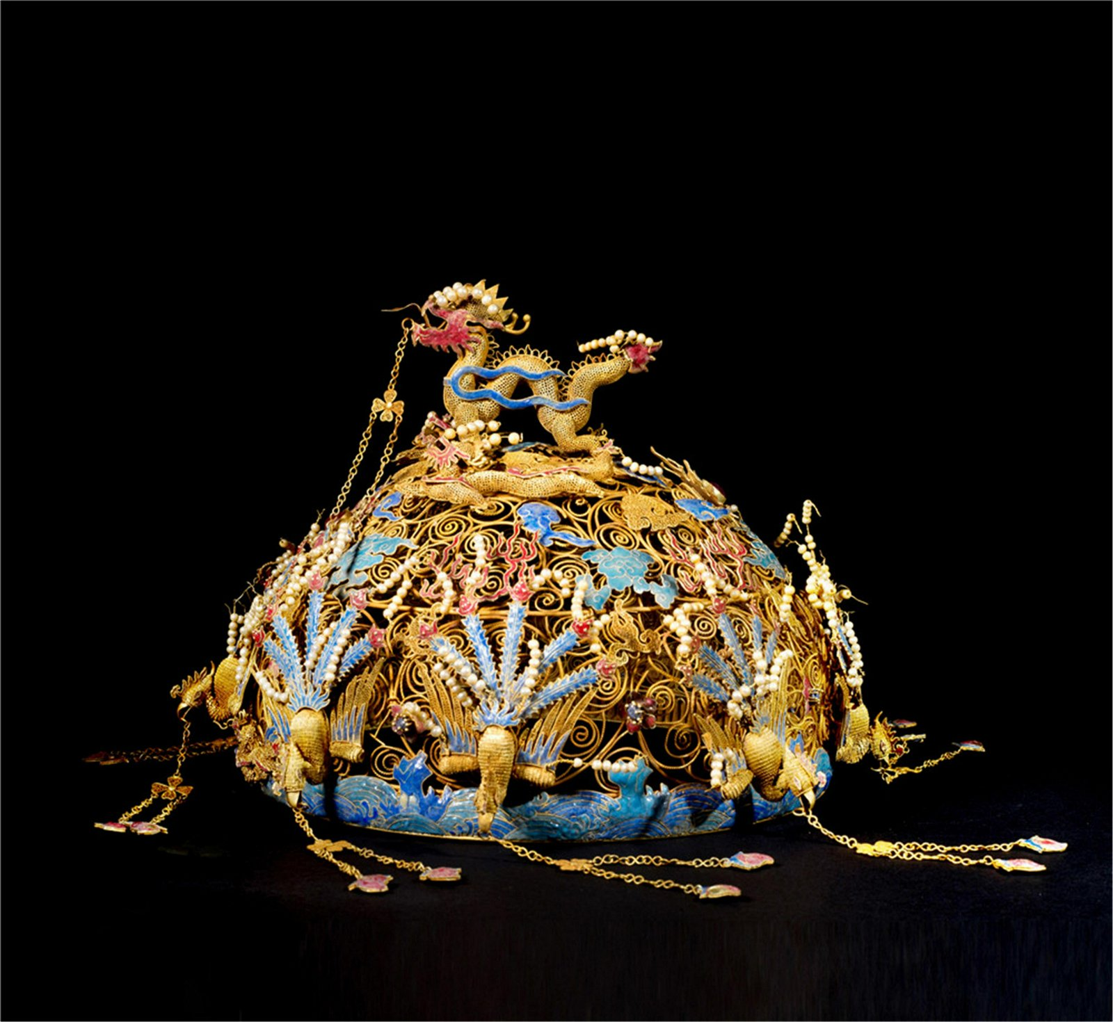 CHINESE GEM STONE INLAID PURE GOLD ENAMEL QUEEN'S CROWN