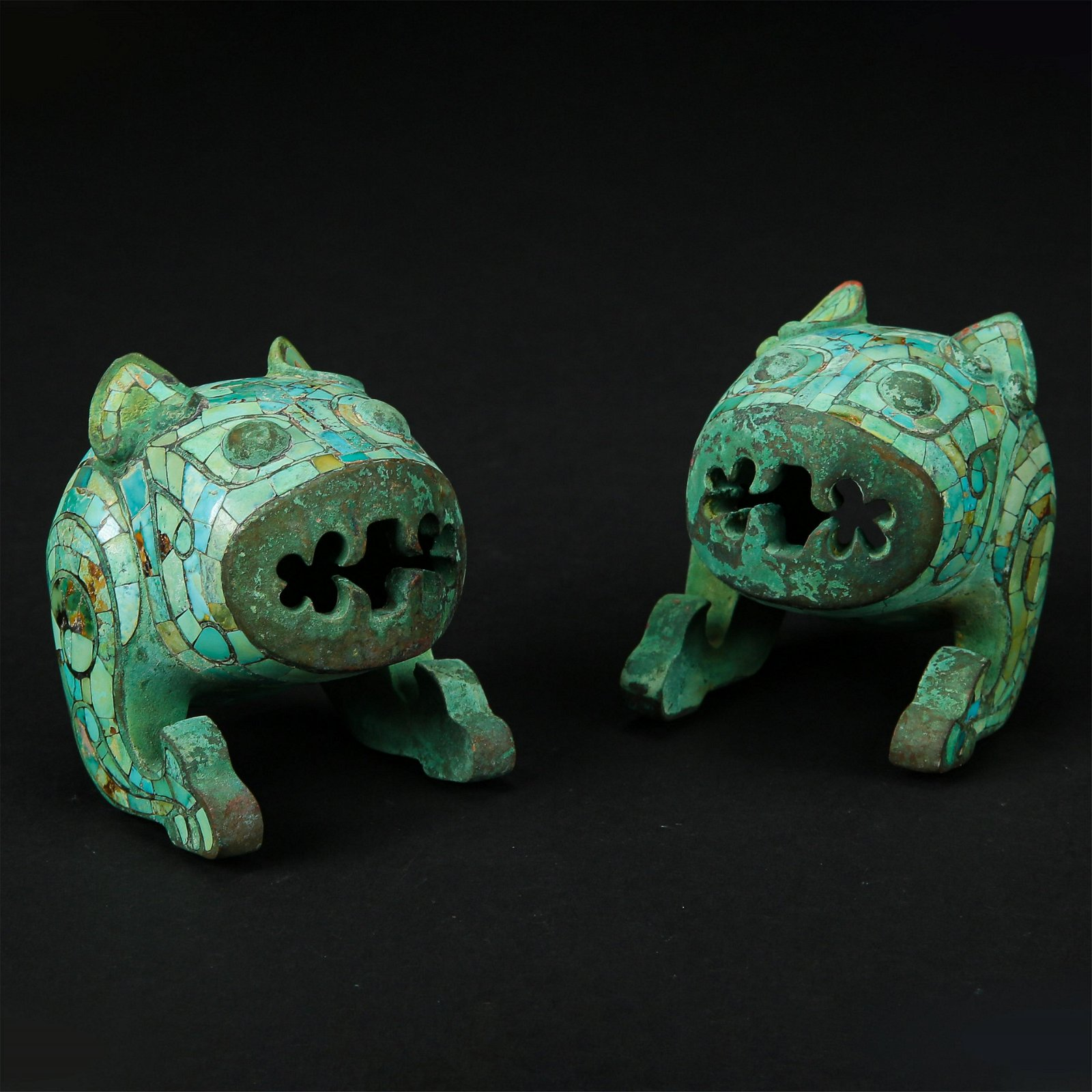 CHINESE TURQUOISE INLAID BRONZE TIGERS