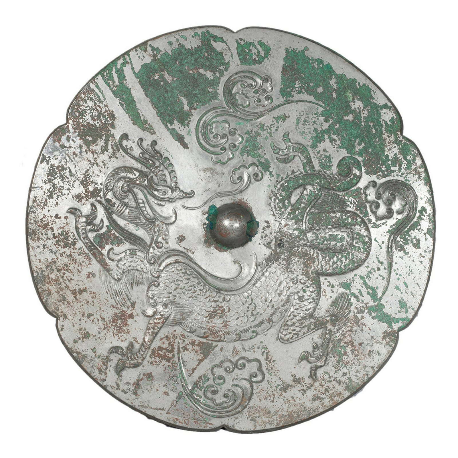 CHINESE ANCIENT BRONZE DRAGON FLOWER SHAPED MIRROR