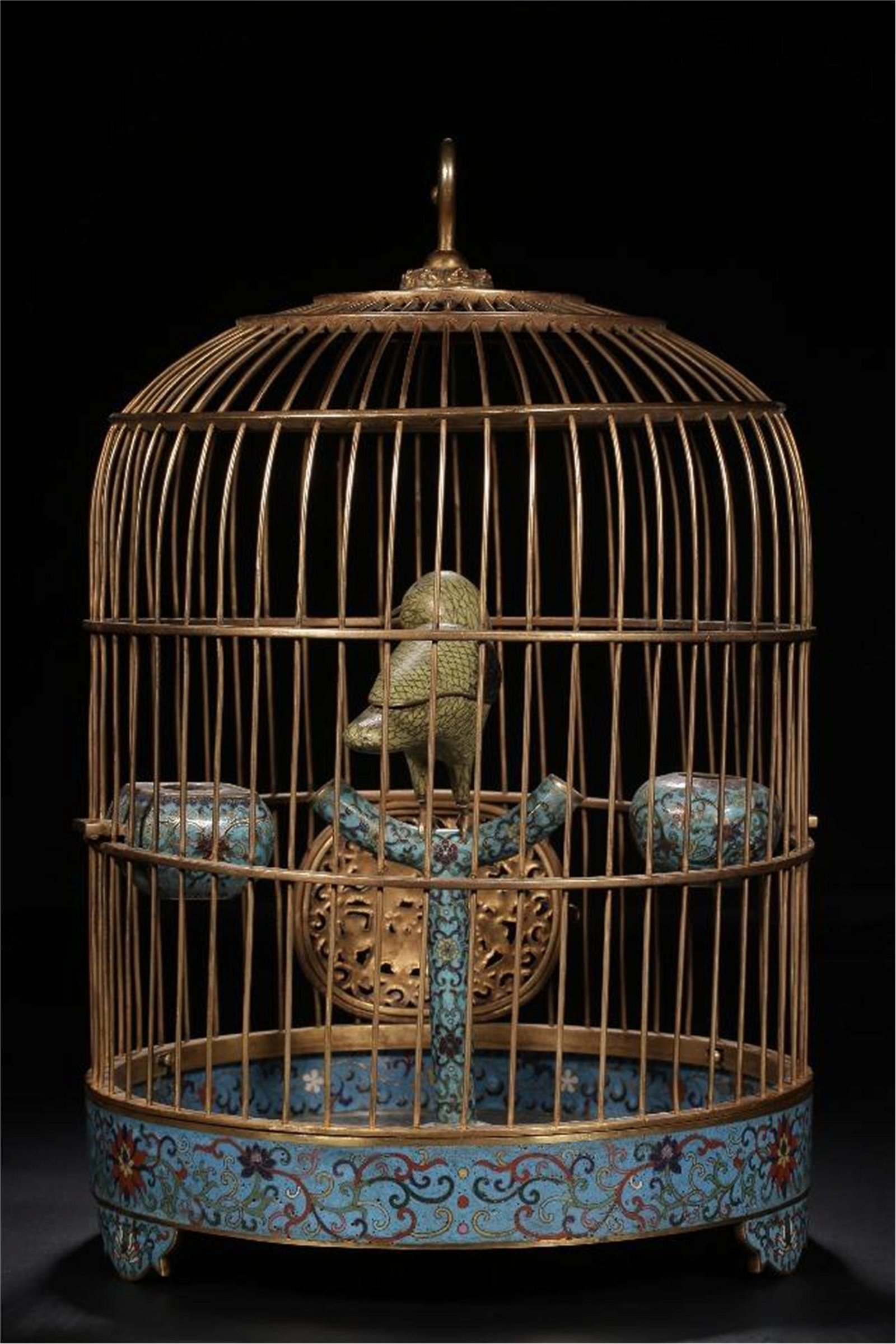 CHINESE CLOISONNE BIRD CAGE TABLE ITEM
