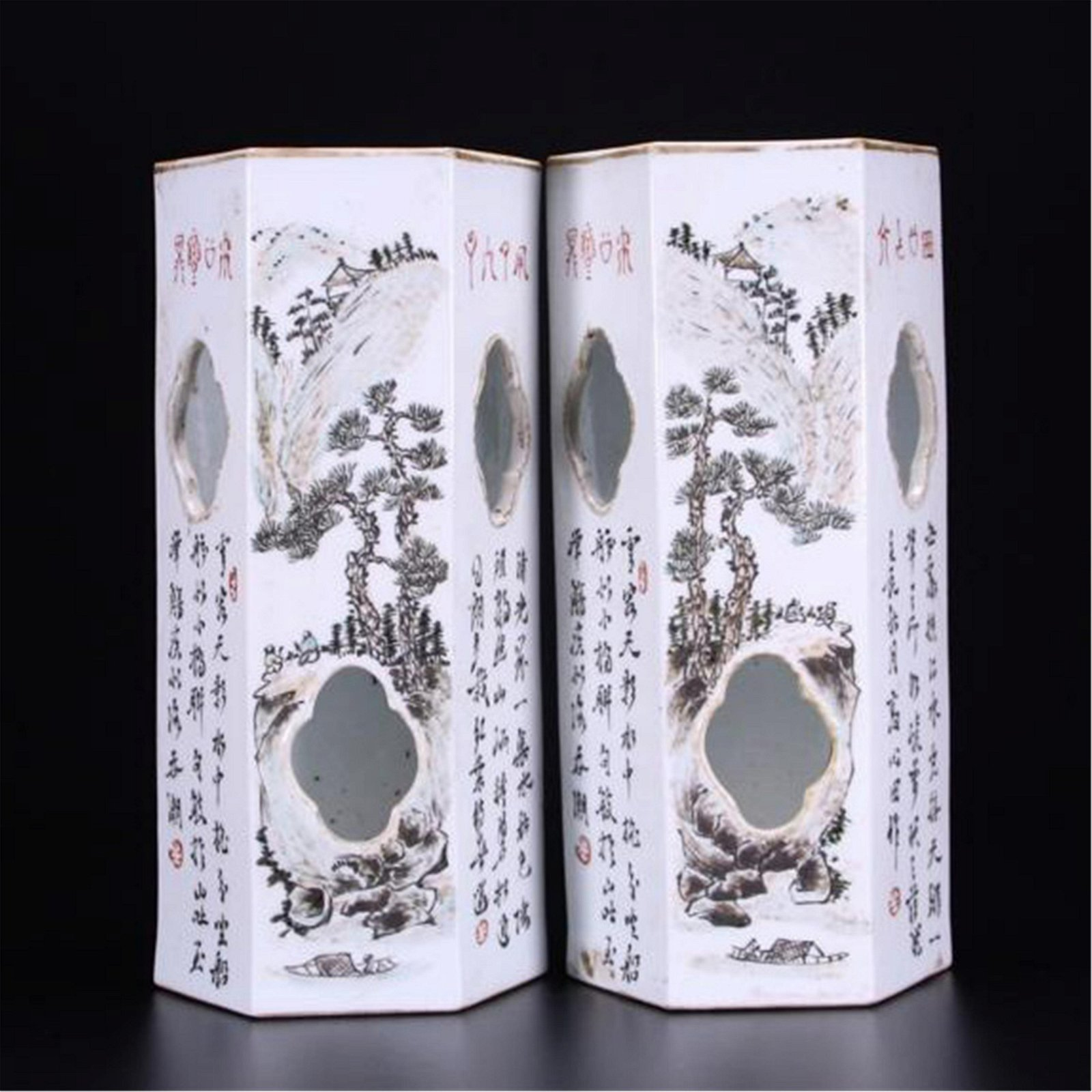 PAIR OF CHINESE PORCELAIN FAMILLE ROSE MOUNTAIN VIEWS