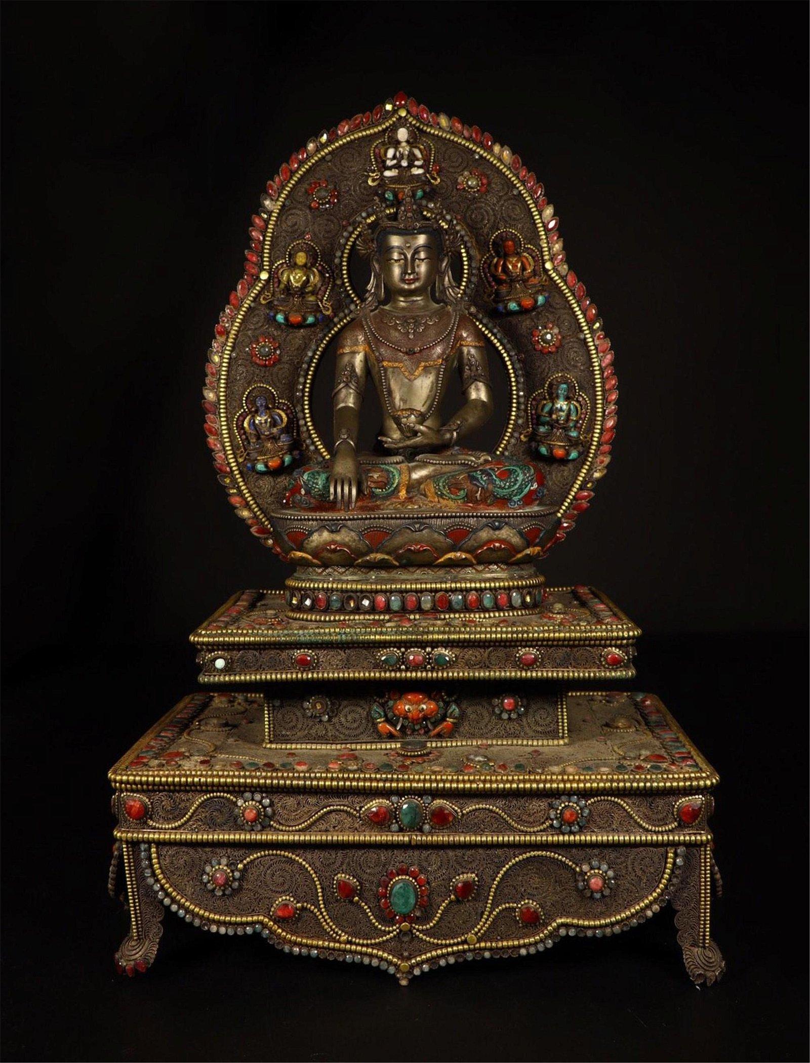 NEPALESE GEM STONE INLAID GILT BRONZE SEATED BUDDHA ON