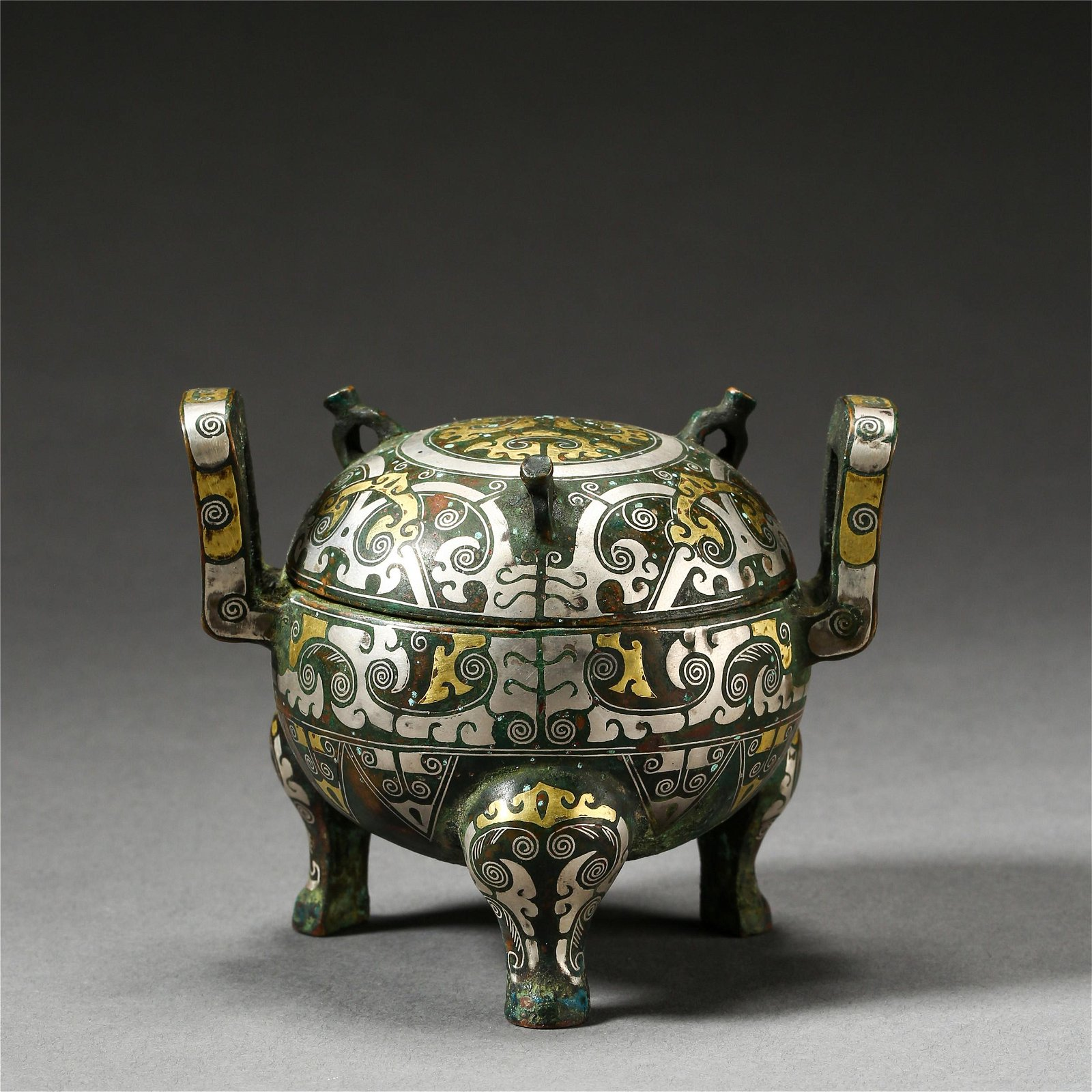 CHINESE SILVER GOLD INLAID BRONZE TRIPLE FEET LIDDED