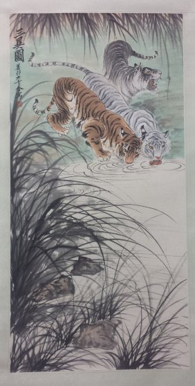 Chinese Scroll Painting Of Three Tigers