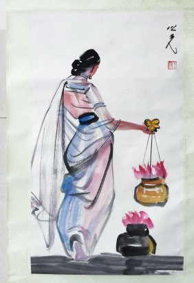 Chinese Scroll Painting Of An Indian Girl