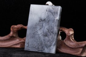 Chinese Celadon Jade Carved Plaque