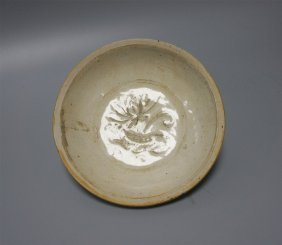 Chinese Porcelain Blue Glaze Lotus Dish