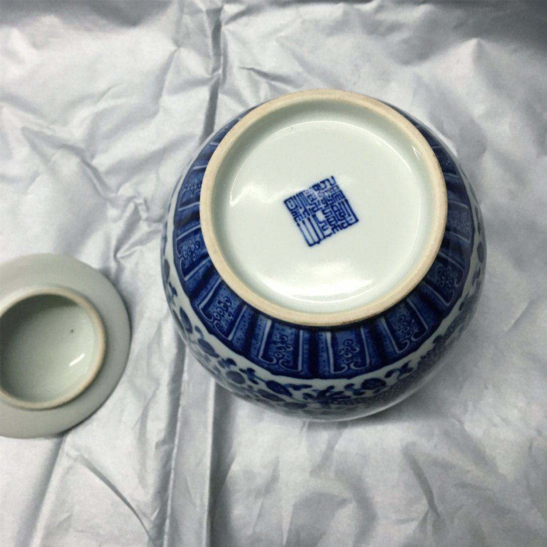 CHINESE PORCELAIN BLUE AND WHITE LIDDED JAR - 3