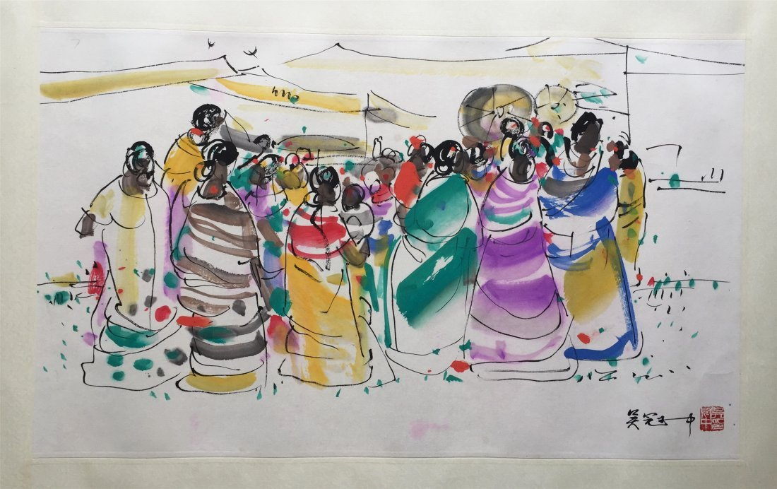 CHINESE WATERCOLOR OF AFRICAN WOMEN SIGNED BY WU