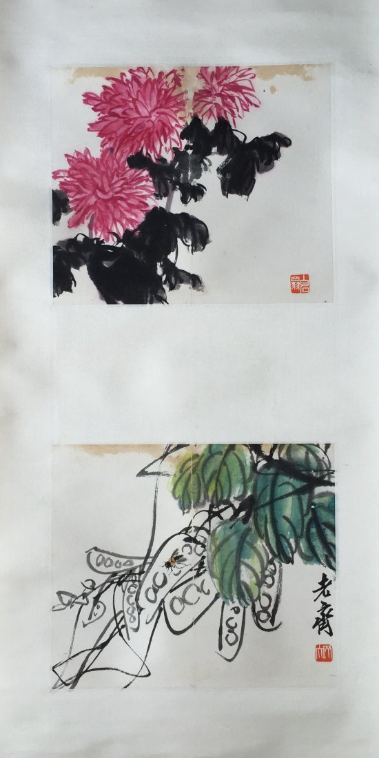 CHINESE SCROLL PAINTING OF FLOWER SIGNED BY QI BAISHI