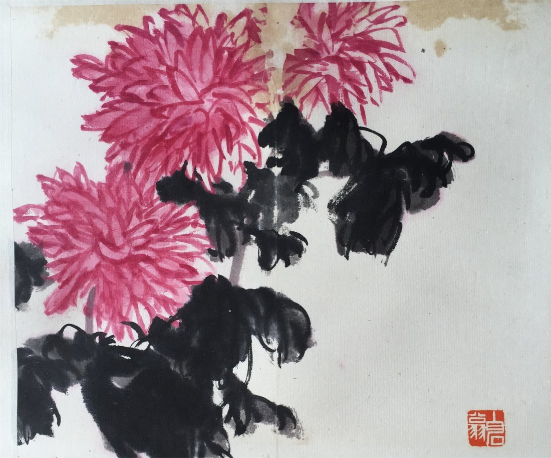CHINESE SCROLL PAINTING OF FLOWER SIGNED BY QI BAISHI - 2