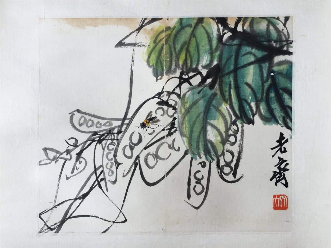 CHINESE SCROLL PAINTING OF FLOWER SIGNED BY QI BAISHI - 3