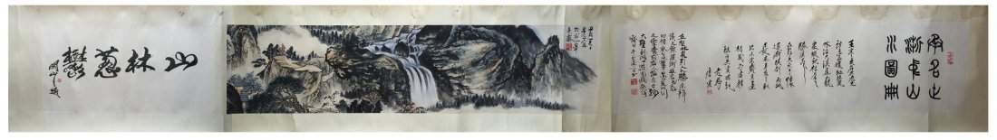 CHINESE HAND SCROLL PAINTING OF MOUNTAIN VIEWS SIGNED