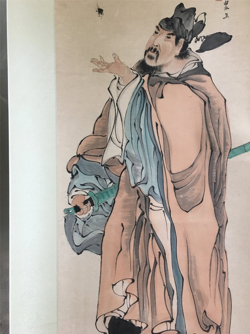 CHINESE SCROLL PAINTING OF A FIGURE SIGNED BY REN - 2