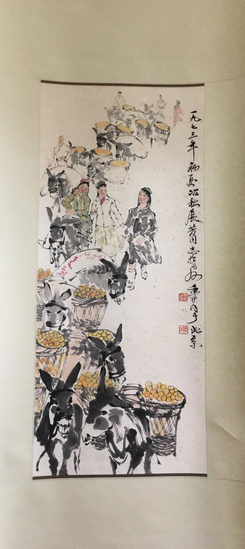 CHINESE SCROLL PAINTING OF DONKEYS SIGNED BY HUANG ZHOU