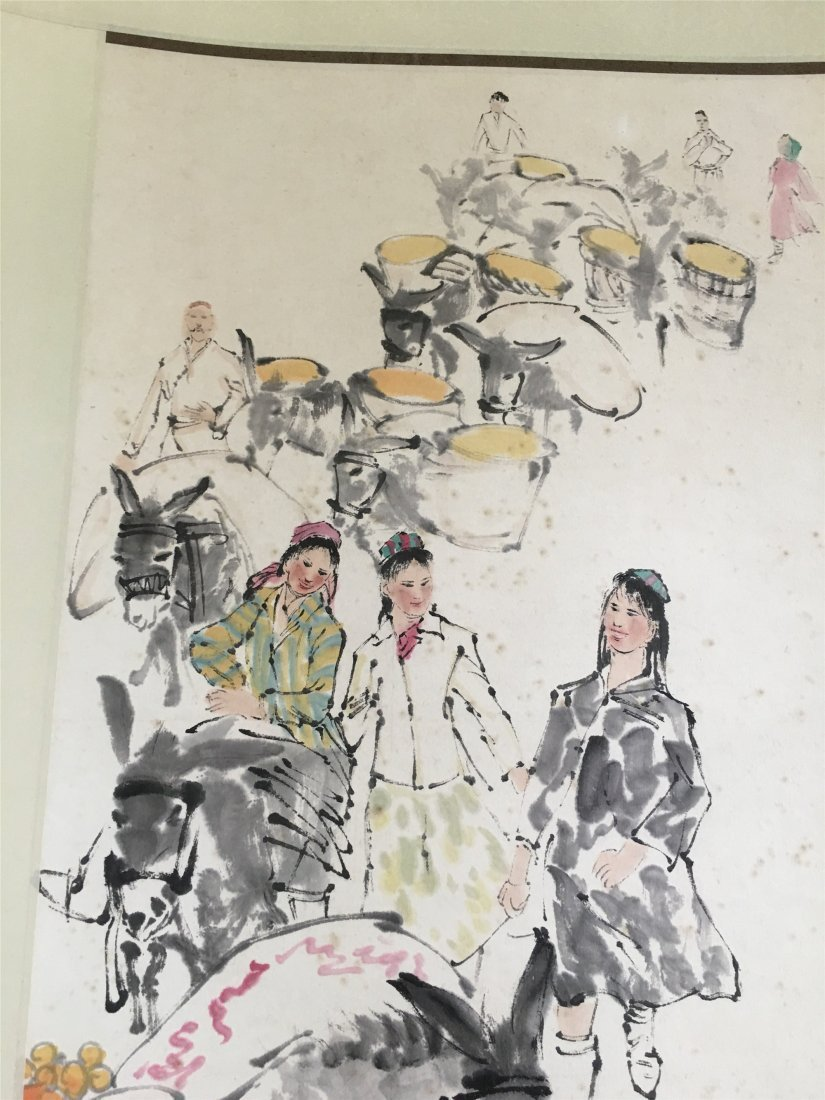 CHINESE SCROLL PAINTING OF DONKEYS SIGNED BY HUANG ZHOU - 2