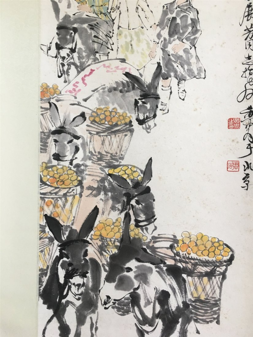 CHINESE SCROLL PAINTING OF DONKEYS SIGNED BY HUANG ZHOU - 3
