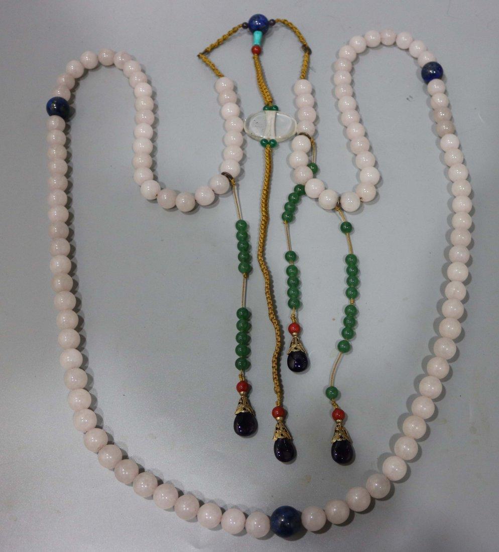 CHINESE WHITE JADE BEAD COURT NECKLACE CHAOZHU - 2