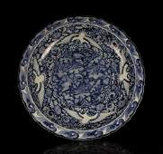 CHINESE PORCELAIN BLUE AND WHITE CRANE CHARGER