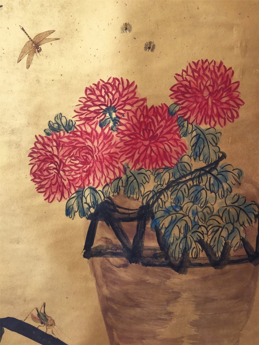 CHINESE SCROLL PAINTING OF BASKET OF CHRYSANTHEMUM - 4