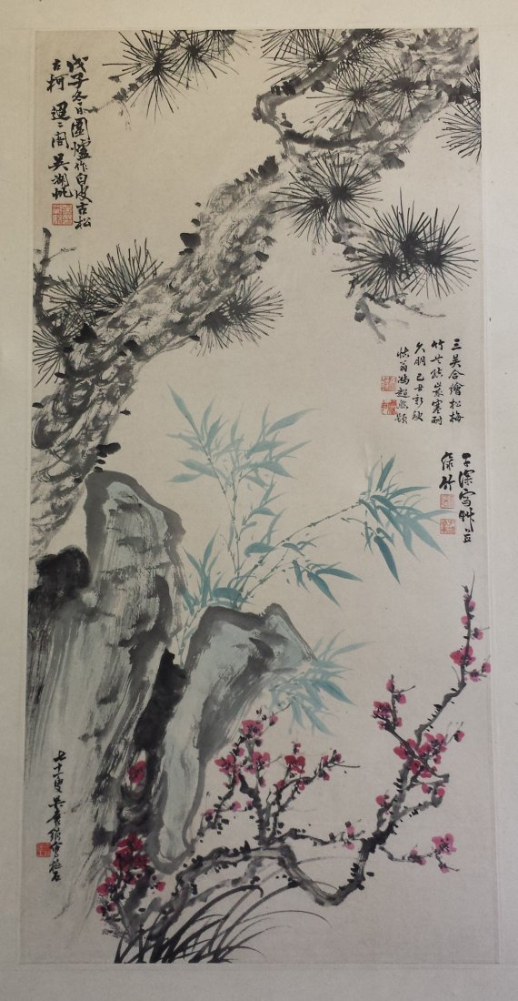 CHINESE SCROLL PAINTING OF PINE AND ROCK