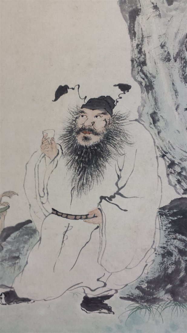 CHINESE SCROLL PAINTING OF MAN UNDER PINE - 2