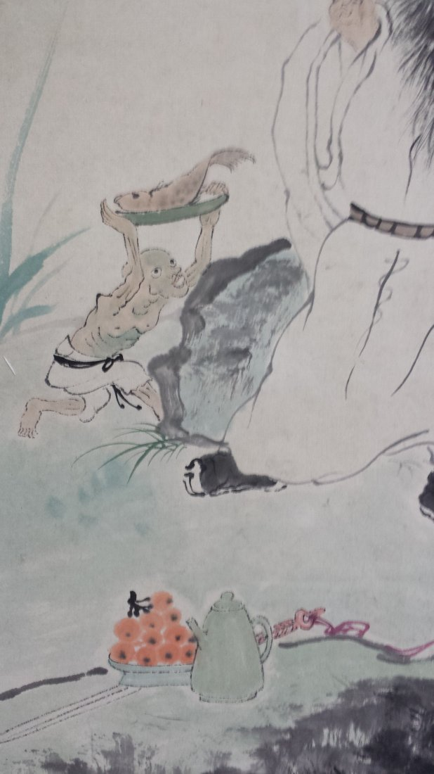CHINESE SCROLL PAINTING OF MAN UNDER PINE - 3