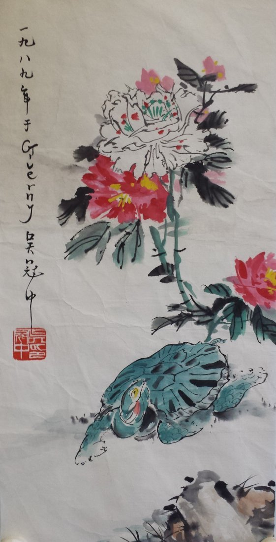 CHINESE UNMOUNTED SCROLL PAINTING OF FLOWER