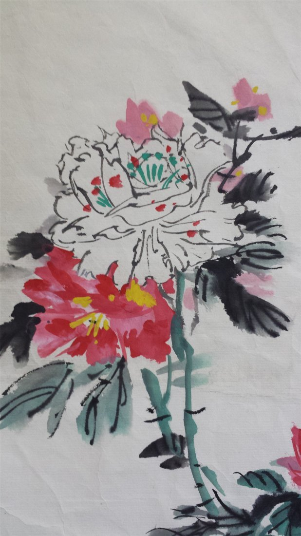 CHINESE UNMOUNTED SCROLL PAINTING OF FLOWER - 2