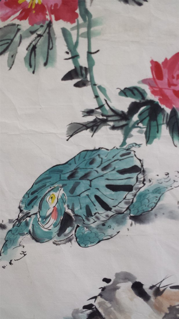 CHINESE UNMOUNTED SCROLL PAINTING OF FLOWER - 3