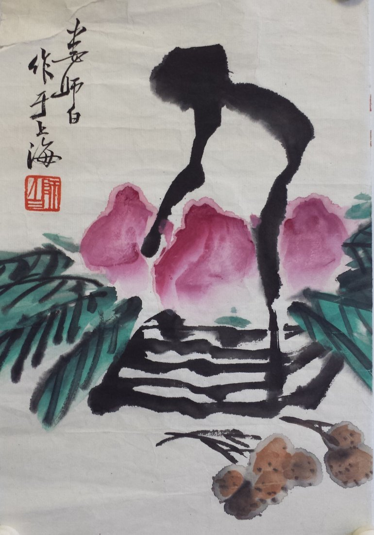 CHINESE UNMOUNTED SCROLL PAINTING OF PEACH