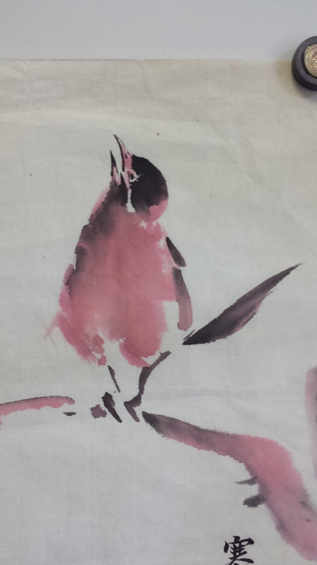 CHINESE UNMOUNTED SCROLL PAINTING OF BIRD ON TREE - 2