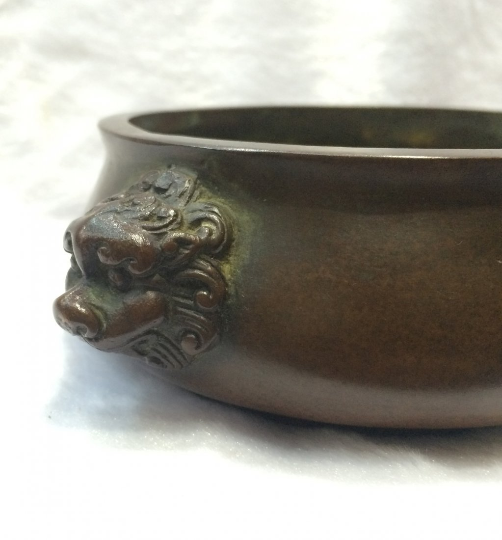 CHINESE BRONZE LION HEAD CENSER - 2