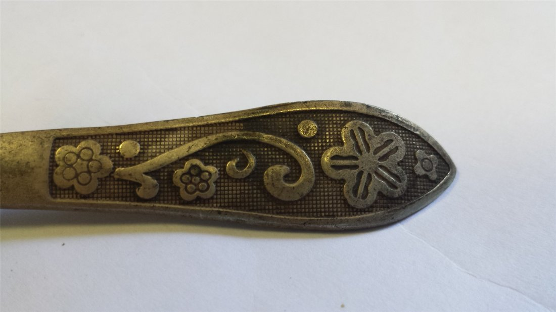 CHINESE COPPER CARVED HAIR PIN - 2