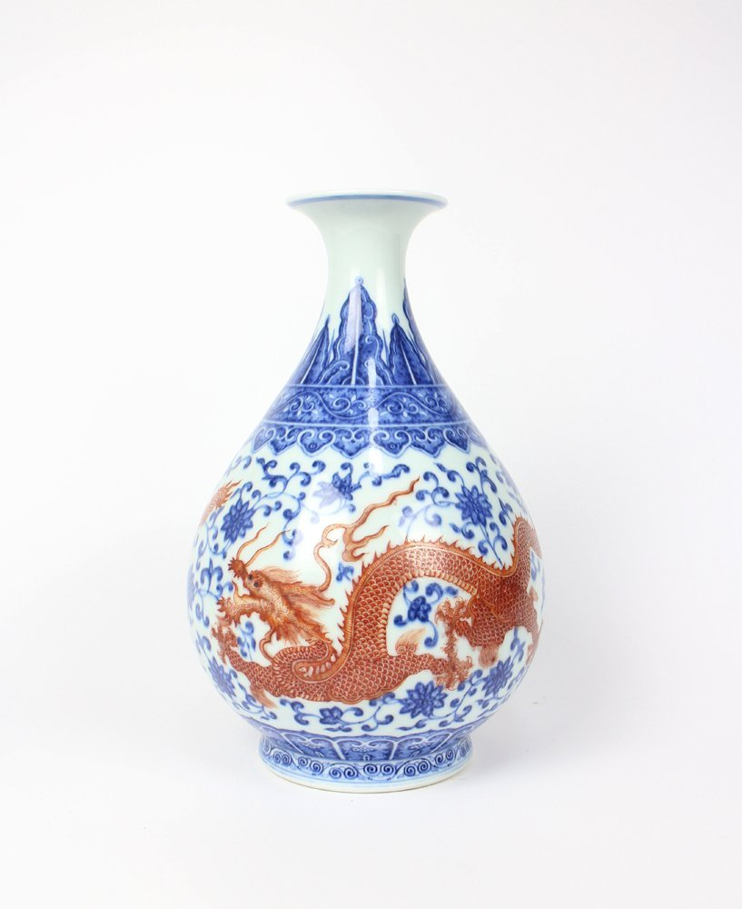 CHIENSE PORCELAIN BLUE AND WHITE IRON RED DRAGON
