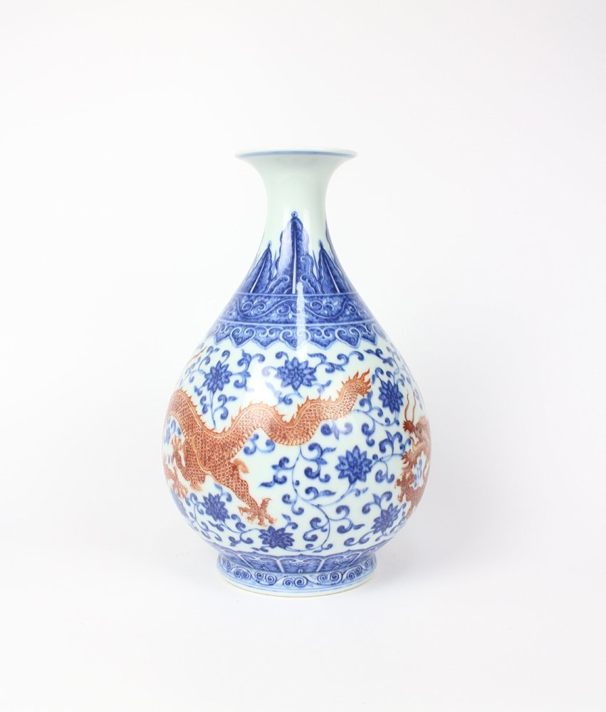 CHIENSE PORCELAIN BLUE AND WHITE IRON RED DRAGON - 4