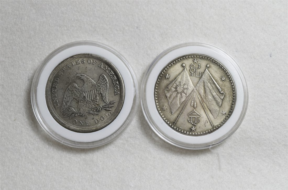 TWO CHINESE DOLLAR SILVER COINS