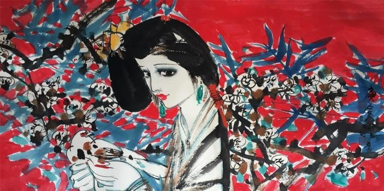 CHINESE PAINTING OF A LADY FIGURE