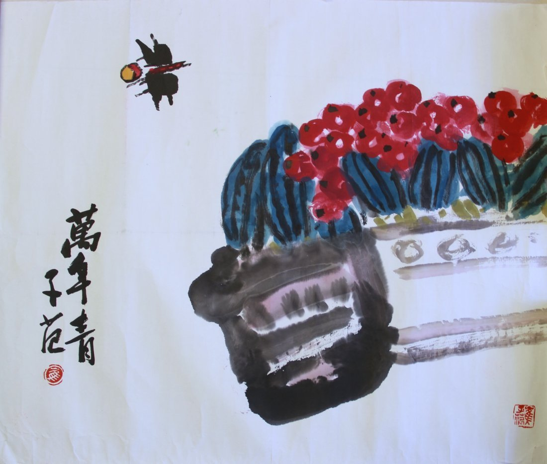 CHINESE PAINTING OF FLOWER AND BIRD BY CUI ZIFAN