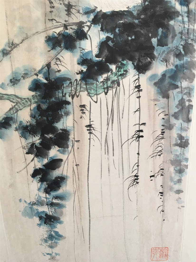 CHINESE SCROLL PAINTING OF MONEKY ON TREE - 3