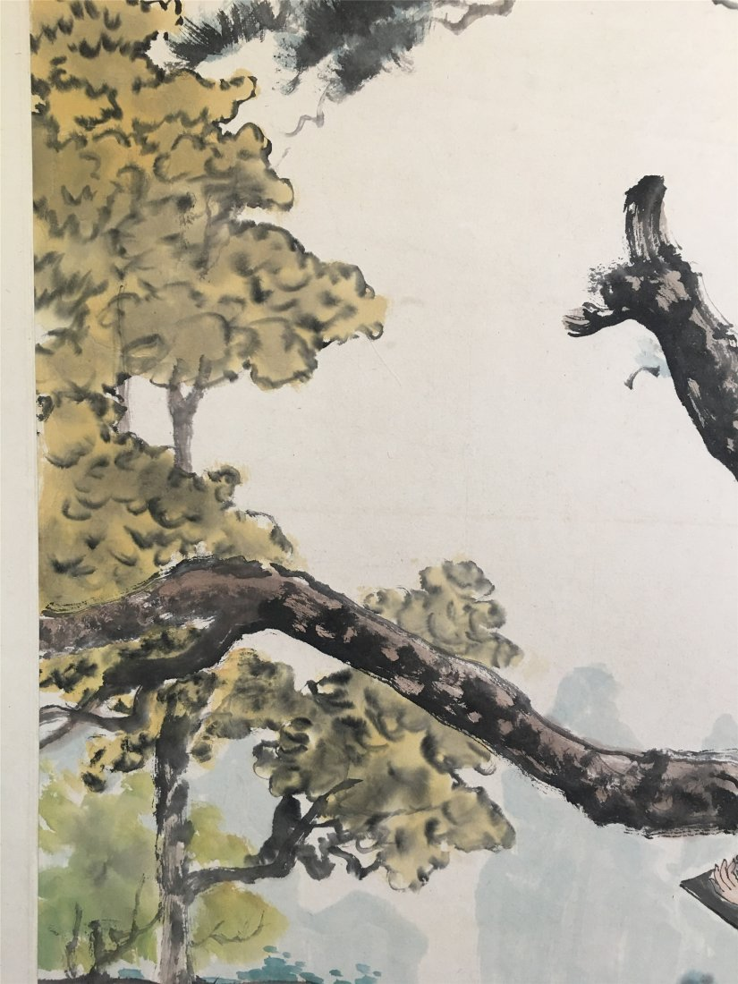 CHINESE SCROLL PAINTING OF GIRL READING UNDER TREE - 3