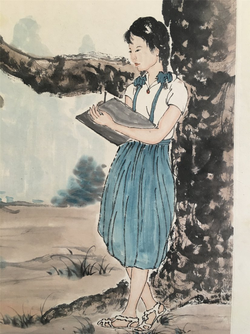CHINESE SCROLL PAINTING OF GIRL READING UNDER TREE - 4