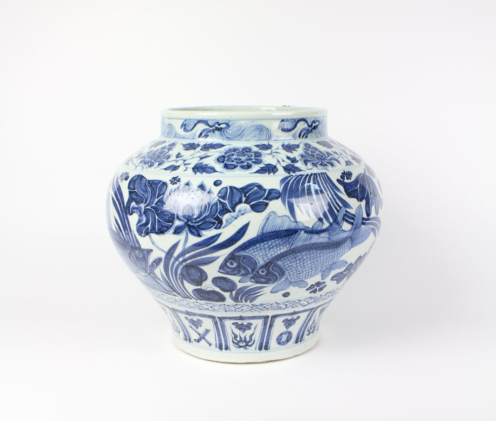 CHINESE PORCELAIN BLUE AND WHITE FISH JAR