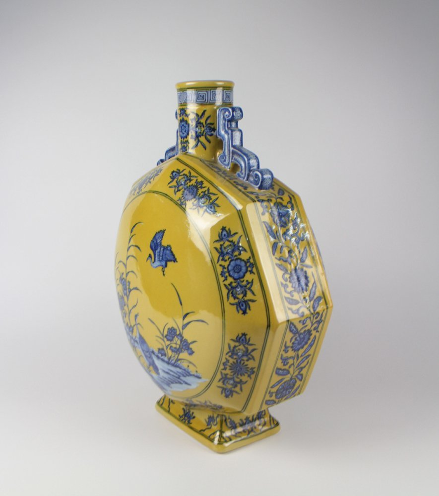 CHINESE PORCELAIN YELLOW GROUND BLUE AND WHITE GOOSE - 2